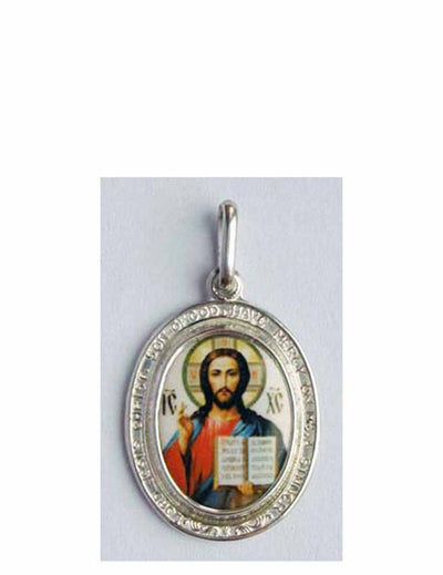 B513JesusPrayer Porcelain Christ Icon Pendant