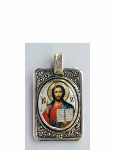 B513Tablet Porcelain Christ Icon Pendant