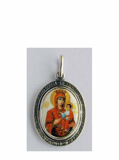 B519Queen Porcelain Theotokos Icon Pendant