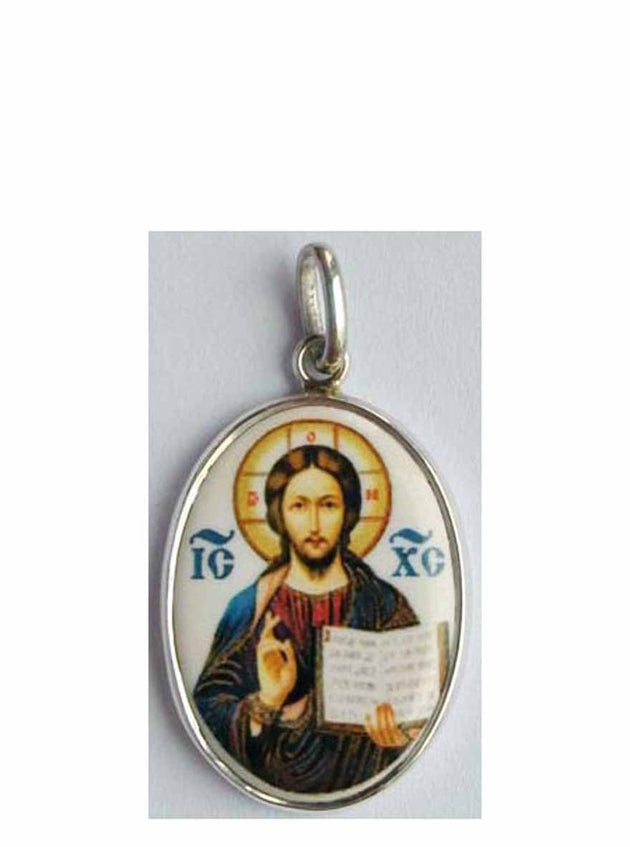 B521Lg Porcelain Christ Icon Pendant