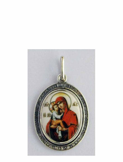 B522Queen Porcelain Theotokos Icon Pendant