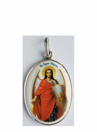 B523Lg Porcelain Archangel Michael Icon Pendant