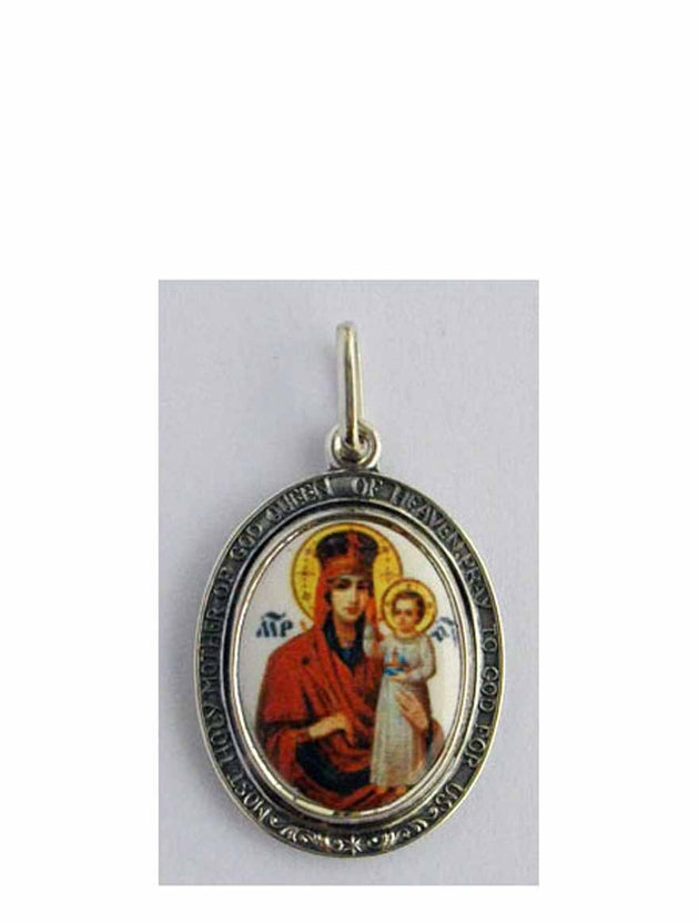 B524Queen Porcelain Theotokos Icon Pendant