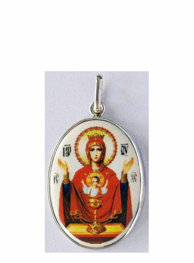 B527Lg Porcelain Inexhaustible Cup Theotokos Icon Pendant