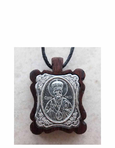 BWS 026 Silver St Nicholas Icon Pendant Mounted on Wood