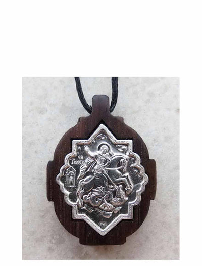 BWS 060 Silver St George Slaying the Dragon Icon Pendant Mounted on Wood