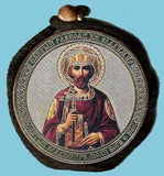 Vladimir Prince and Guardian Angel Round Two Sided Car Pendant Icon CP005