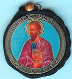 Paul Apostle and Guardian Angel Round Two Sided Car Pendant Icon CP019