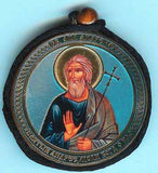 Andrew Apostle and Guardian Angel Round Two Sided Car Pendant Icon CP023