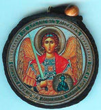 Michael Archangel and Christ Round Two Sided Car Pendant Icon CP039