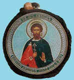 Leonid and Guardian Angel Round Two Sided Car Pendant Icon CP050