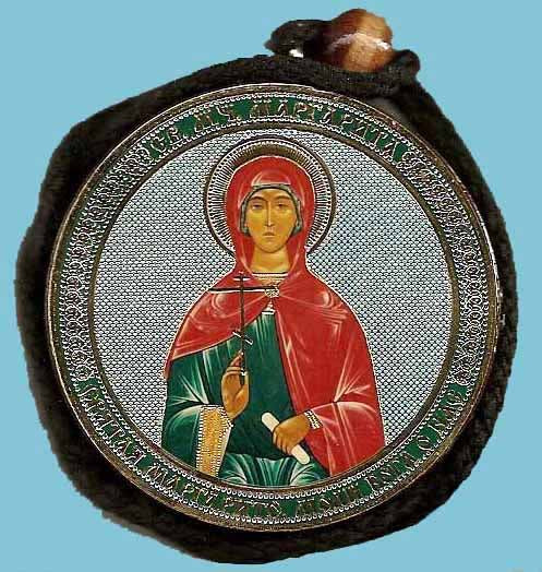 Margaret and Guardian Angel Round Two Sided Car Pendant Icon CP063