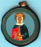 Catherine and Guardian Angel Round Two Sided Car Pendant Icon CP064
