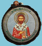 Timothy Apostle and Guardian Angel Round Two Sided Car Pendant Icon CP071