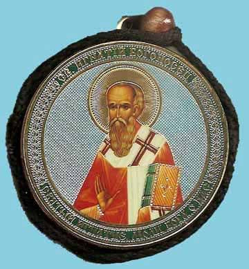Ignatius the Godbearer and Guardian Angel Round Two Sided Car Pendant Icon CP084