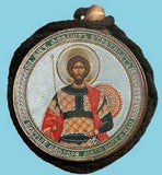 Theodore Stratelates and Guardian Angel Round Two Sided Car Pendant Icon CP090