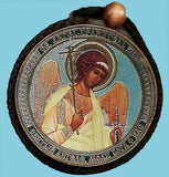 Christ and Guardian Angel Round Two Sided Car Pendant Icon CP103