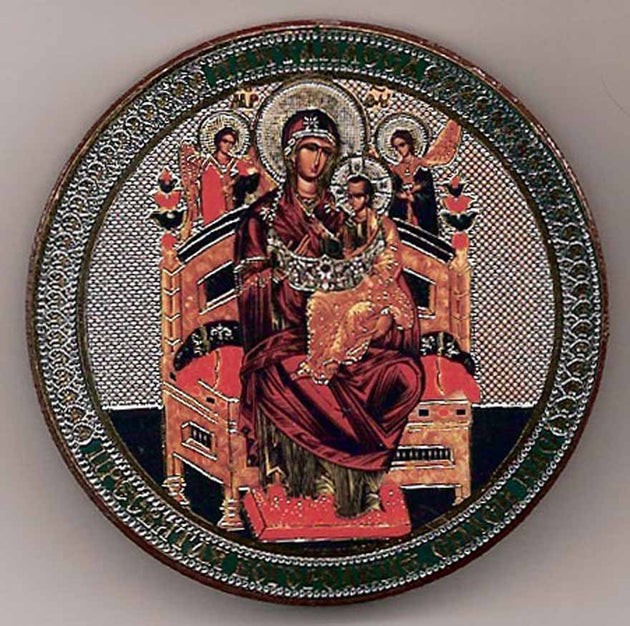 Enthroned Pantanassa Theotokos Round One Sided Car Icon Ci006