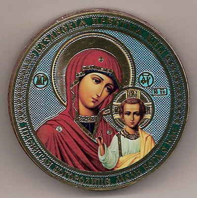 Kazan Mother of God Round One Sided Car Icon Ci017