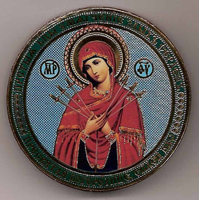 Seven Arrows Mother of God Round One Sided Car Icon Ci030