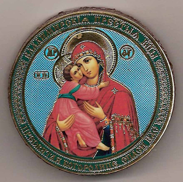 Vladimir Mother of God Round One Sided Car Icon Ci032