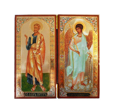 Peter Apostle and Guardian Angel DiptychTall008