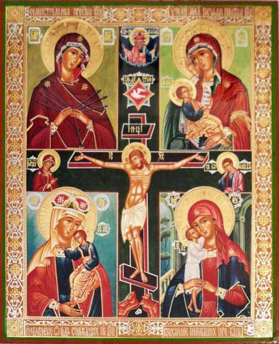 Four Icons Mother of God Cross