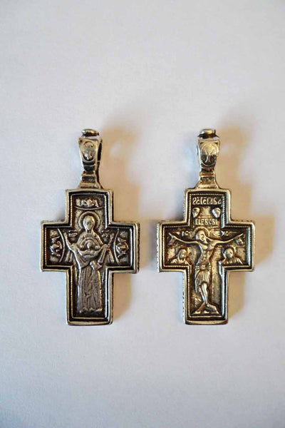 GC001 Greek Cross Theotokos and Crucifixion