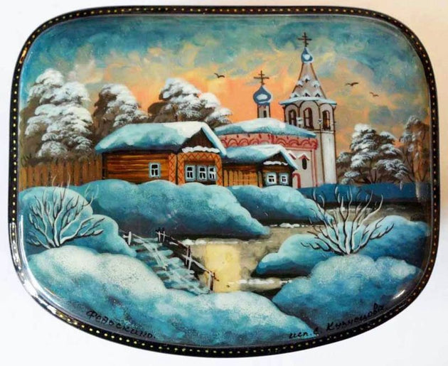 Lacquer Box Winter Church 13