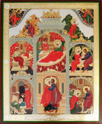 Nativity of the Theotokos with scenes