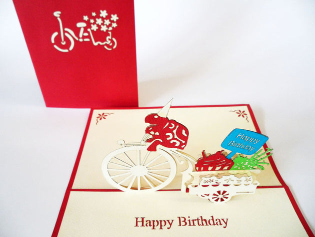 Pop Up Card 016 BDay Turtle Bicycle