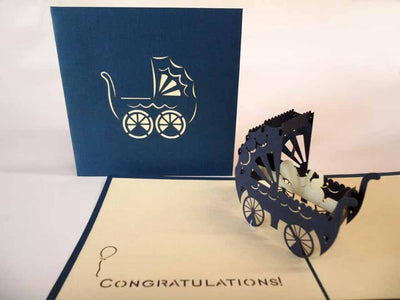 Pop Up Card 020blue Baby Carriage