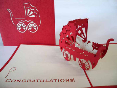 Pop Up Card 020red Baby Carriage
