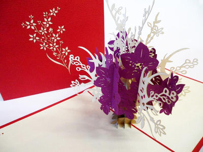 Pop Up Card 028a Flowers Purple White