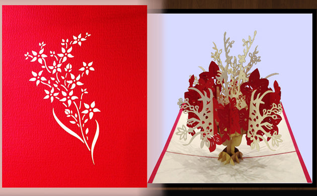 Pop Up Card 028b Flowers Red White