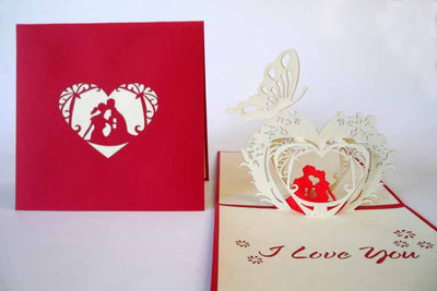 Pop Up Card 038 Romance Couple Heart
