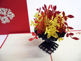 Pop Up Card 047 Flower Bouquet Red Yellow