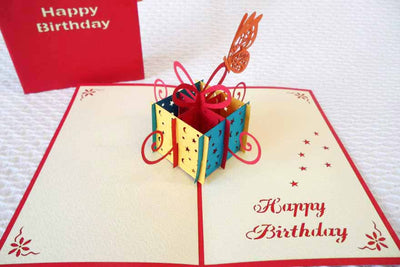 Pop Up Card 068m Happy Birthday Present