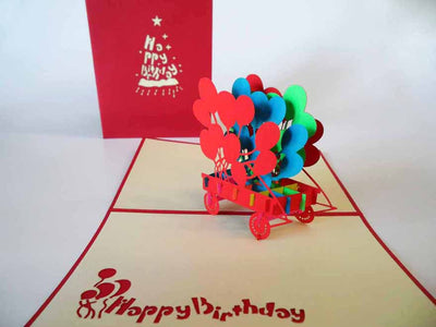 Pop Up Card 091 Birthday Balloons