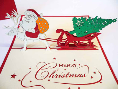 Pop Up Card 102 Santa Sleigh with Tree