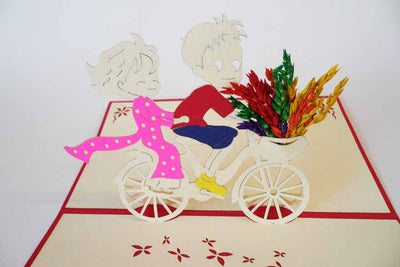 Pop Up Card 120F Bicycle Children with Flowers