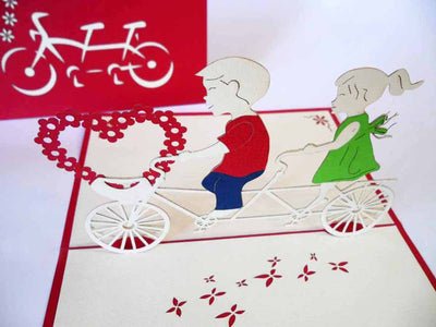 Pop Up Card 120 Bicycle Children with Heart