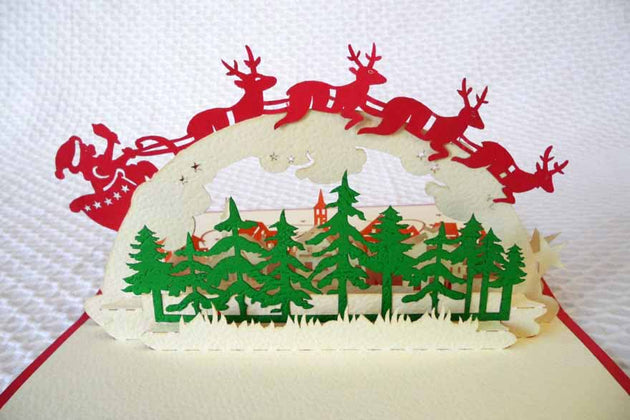 Pop Up Card 138 Flying Reindeer