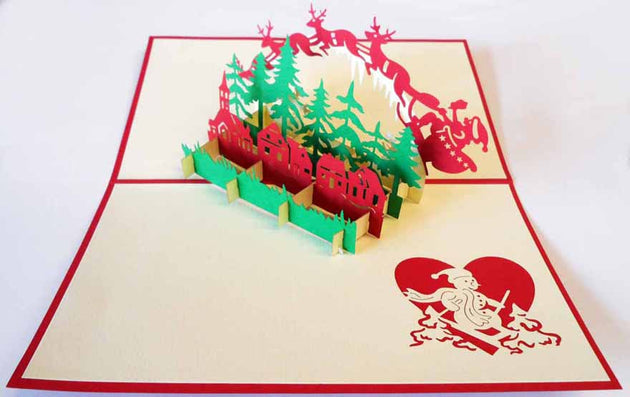 Pop Up Card 138n Flying Reindeer