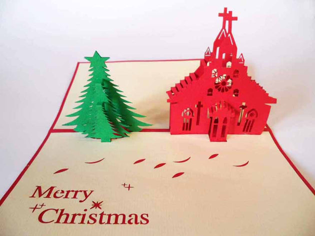 Pop Up Card 142 Church and Christmas Tree