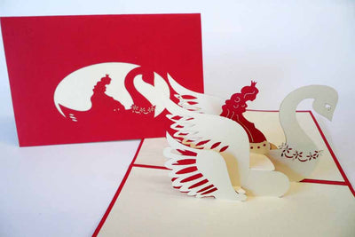 Pop Up Card 184 Princess with Swan