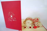 Pop Up Card 185 Teddy Bear w Hearts