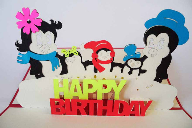 Pop Up Card 201 Birthday Penguins