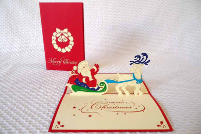 Pop Up Card 205 Santa Sleigh with Reindeer