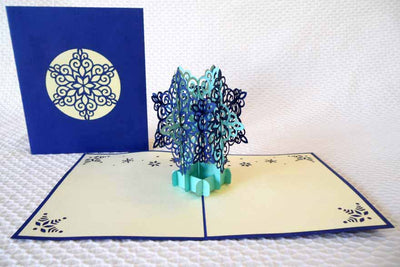 Pop Up Card 207 Star Snowflake blue
